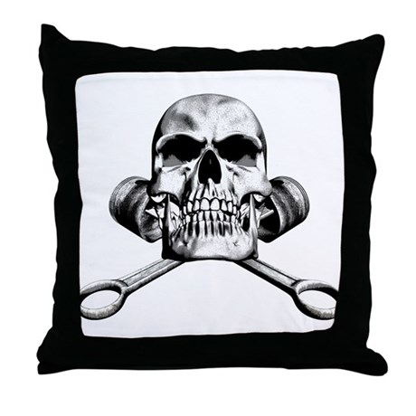 Skull and Pistons Throw Pillow