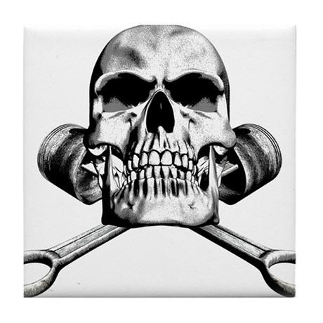 Skull and Pistons Tile Coaster