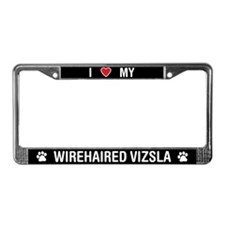 I Love My Wirehaired Vizsla License Plate Frame