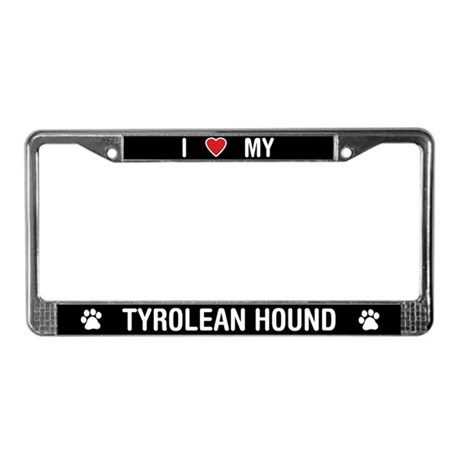 I Love My Tyrolean Hound License Plate Frame