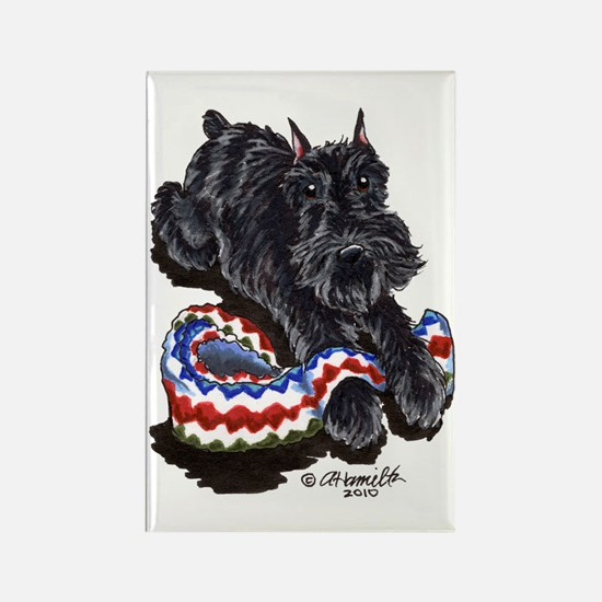 Black Schnauzer Afghan Rectangle Magnet