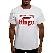Happiness Is Playing Bingo Ash Grey T-Shirt