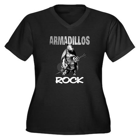 Armadillo's Rock Women's Plus Size V-Neck Dark T-S