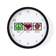 Peace Love Turkey Wall Clock