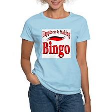 Happiness Is Playing Bingo Women's Pink T-Shirt
