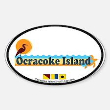 Ocracoke Island - Beach Design Sticker (Oval)