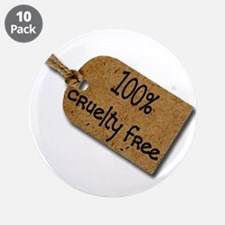 """1oo% Cruelty Free 2 3.5"""" Button (10 pack)"""