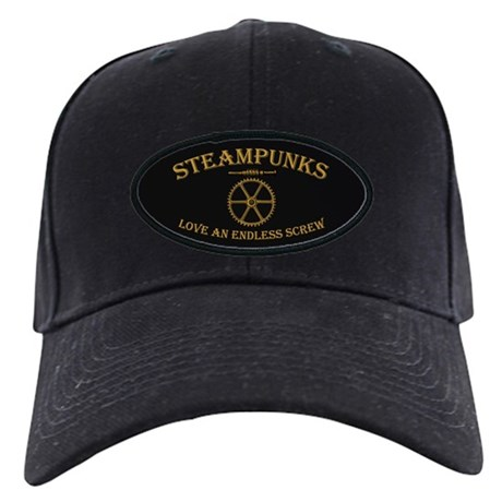 Steampunk Endless Screw Black Cap
