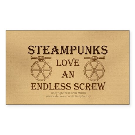 Steampunk Endless Screw Sticker (Rectangle)