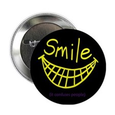 """Funny Smile It Confuses People 2.25"""" Button"""