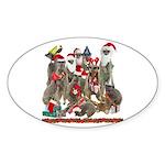 Xmas Meerkats Sticker (Oval 50 pk)