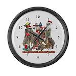 Xmas Meerkats Large Wall Clock