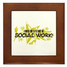 I ROCK THE S#%! - SOCIAL WORK Framed Tile