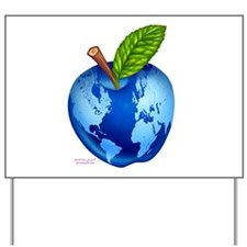 global apple planet map Yard Sign