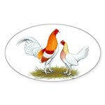 Old English Bantam: Red Pyle Sticker (Oval 50 pk)