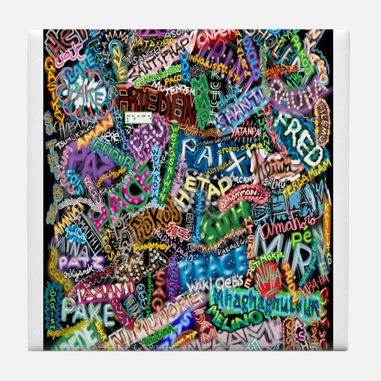 graffiti of the word peace tr Tile Coaster