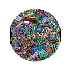 """graffiti of the word peace tr 3.5"""" Button (100 pac"""