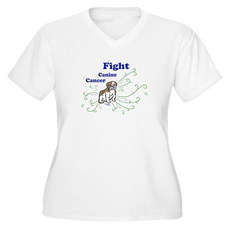 Fight Canine Cancer Women's Plus Size V-Neck Shirt