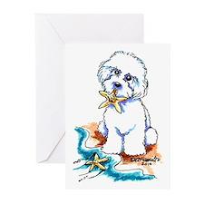 Bichon Frise Beach Greeting Cards (Pk of 10)