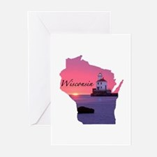 Wisconsin lighthouse Greeting Cards (Pk of 10)