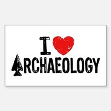 I Love Archaeology Sticker (Rectangle)