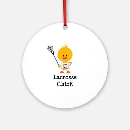 Lacrosse Chick Ornament (Round)