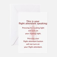 Turned On Flight Attendant Greeting Cards (Pk of 1