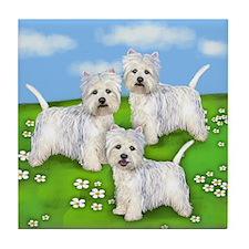 WEST HIGHLAND TERRIER DOGS PARK Tile Coaster