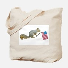 Squirrel with American Flag Tote Bag