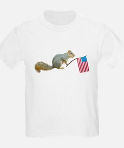 Squirrel with American Flag T-Shirt