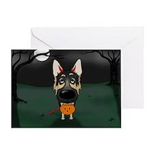German Shepherd Devil Halloween Greeting Card