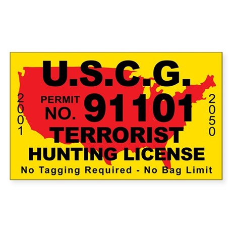 U.S.C.G. Terrorist Hunting License Sticker