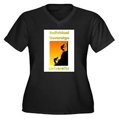 IndSovU Women's Plus Size V-Neck Dark T-Shirt