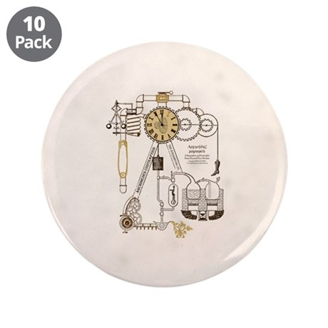 """Steampunk Contraption 3.5"""" Button (10 pack)"""