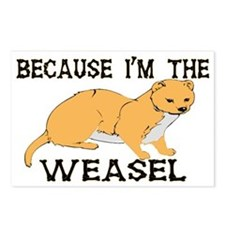 Because I'm The Weasel Postcards (Package of 8)