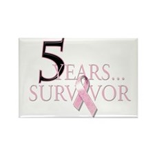 5 Years Breast Cancer Survivor Rectangle Magnet