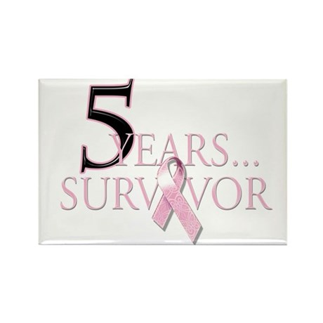 5 Years Breast Cancer Survivor Rectangle Magnet (1