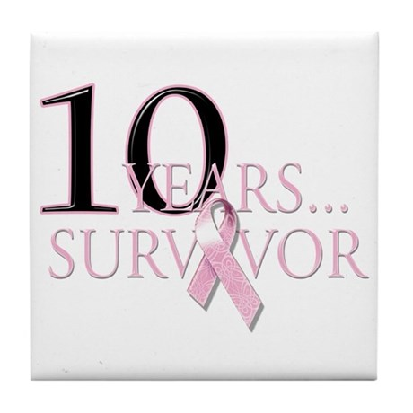 10 Years Breast Cancer Survivor Tile Coaster
