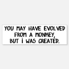 You May Have Evolved, I Was Created Bumper Bumper Sticker