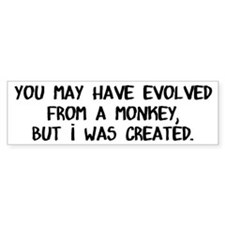 You May Have Evolved, I Was Created Bumper Sticker