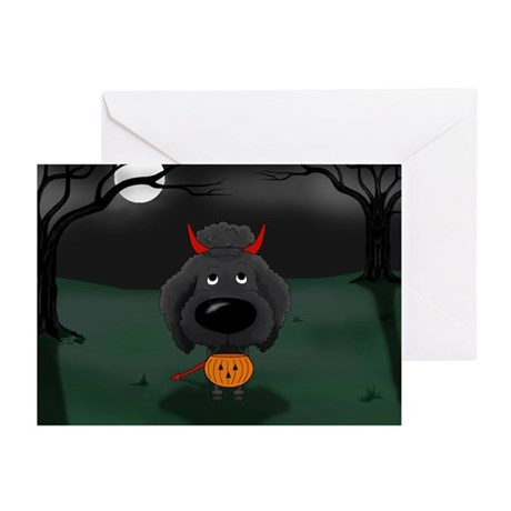 Poodle Devil Halloween Greeting Cards (Pk of 10)
