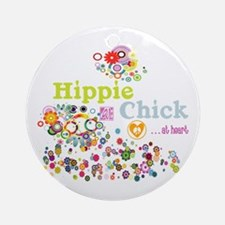 Hippie Chick at Heart Round Ornament