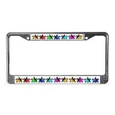 Multicolor Yin Yang Turtles License Plate Frame