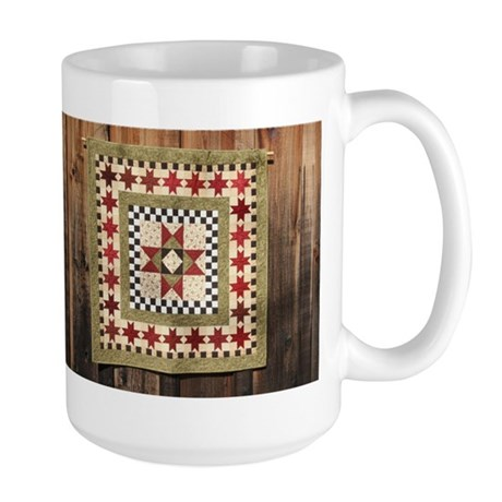 Hitching Post cloth quilt trail square Large Mug
