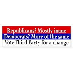 Vote Third Party for Change bumper sticker