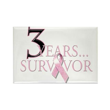 3 Year Breast Cancer Survivor Rectangle Magnet