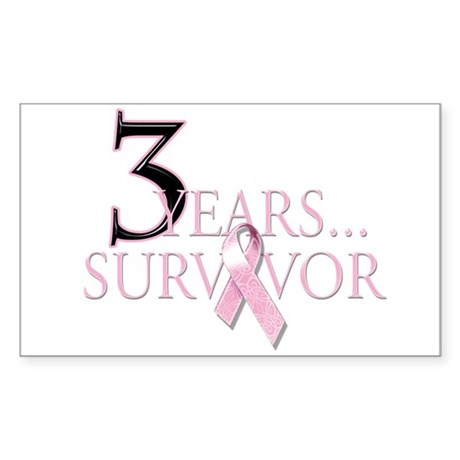 3 Year Breast Cancer Survivor Sticker (Rectangle)