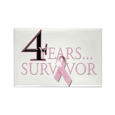 4 Year Breast Cancer Survivor Rectangle Magnet