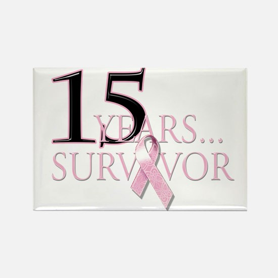 15 Year Breast Cancer Survivor Rectangle Magnet