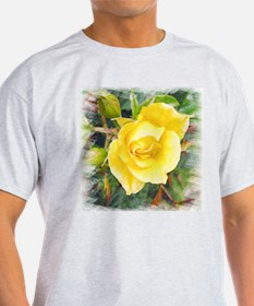 Lavish Yellow Rose Ash Grey T-Shirt